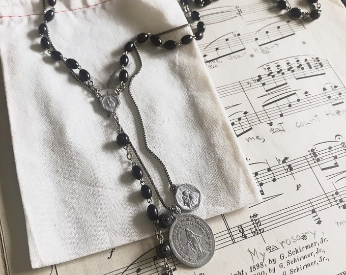 Handmade Rosary Necklace - Repurposed Rosary Parts with Vintage Miraculous and St. Anthony Medals, Crucifix and Center