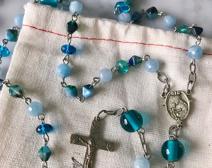 Handmade Sea Blue Rosary, New and Vintage Materials