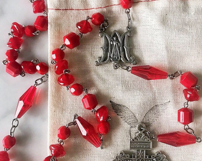 Handmade Divine Mercy Chaplet, Repurposed Vintage Red Beads