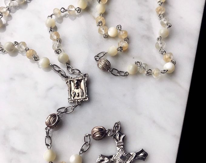 Handmade Mother of Pearl and Glass Rosary, New and Vintage Materials