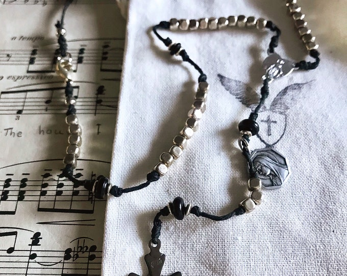 Handmade Rosary Necklace - Silver Beads with Black Horn and Vintage Crucifix and Center and Marian Medal