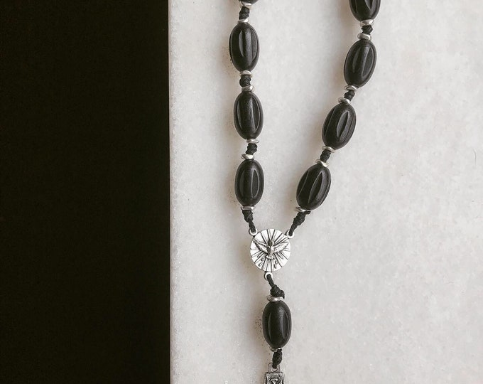 Gentlemen's Single Decade Rosary Black Wooden Habit Beads with Silver Metal Crucifix and Center