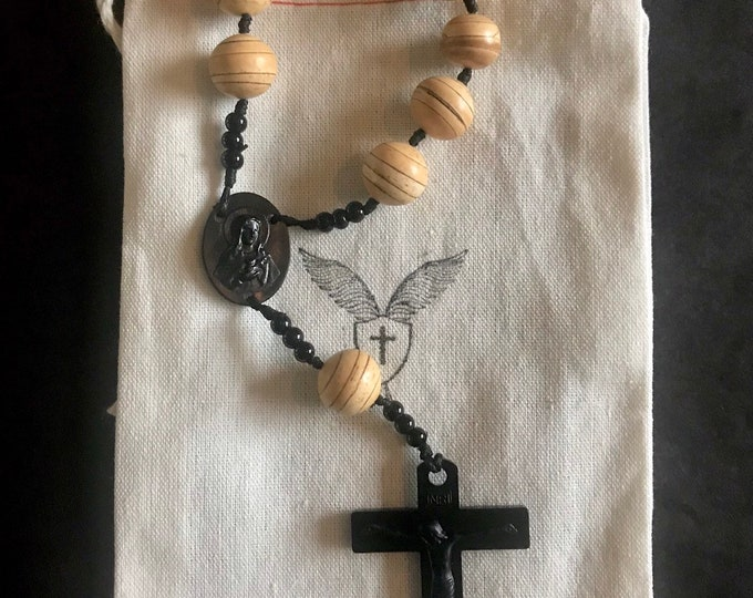 Single Decade Rosary Brown Wooden Repurposed Beads with Matte Black Acrylic Crucifix and Center