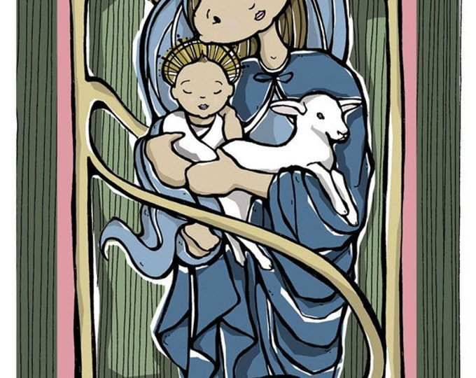 Mary, Child and the Lamb Art Print 8 x 10