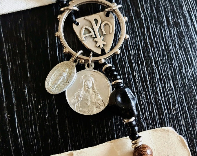 Handmade Memento Mori Rosary Necklace - Rosewood, Black Horn Beads with Vintage Medals