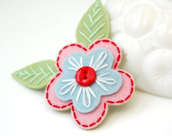 Embroidered Flower Hair Clip- Pink, Blue, and Red