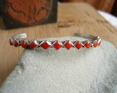 Vintage Pawn Silver and Coral Native American Cuff