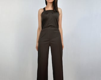 df03421af43d Vintage Jumpsuit 70s Brown One Piece Romper 1970s Jumpsuit - Extra Small to  Small XS S