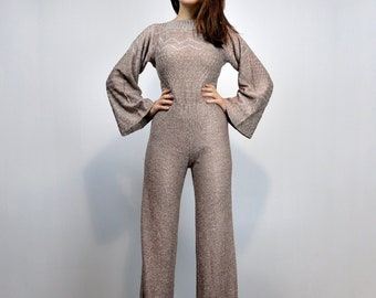 243043c855e9 70s Metallic Jumpsuit Vintage Disco 1970s Knit One Piece Studio 54 Long  Sleeve Sparkling New Years Eve Outfit - Extra Small XS