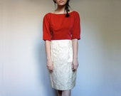 Red Wiggle Dress 1960s Velvet Ivory Winter Holiday Party Dress 60s - Medium M