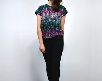3aff59b61e72 80s Sequin Top Vintage Metallic Top Ombre Rainbow Top Blouse - Extra Small  to Medium XS S M