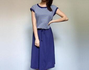0f2033586e2a Vintage Striped Dress Women 70s Nautical Blue White Summer Dress Casual  Sundress - Medium to Large M L