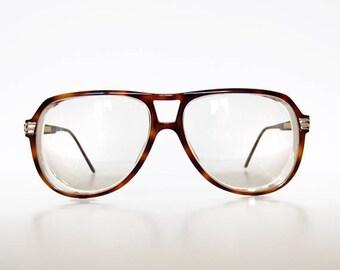 934e699e5f7 Vintage Gucci Glasses Tortoise Shell Frames Brown Oversized 80s Aviator  Glasses GG 1100 Eyeglasses