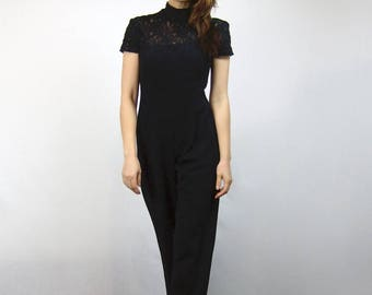e3ddb38d2916 Black Lace Jumpsuit 90s Short Sleeve Sheer One Piece New Years Eve Outfit -  Extra Small to Small XS S