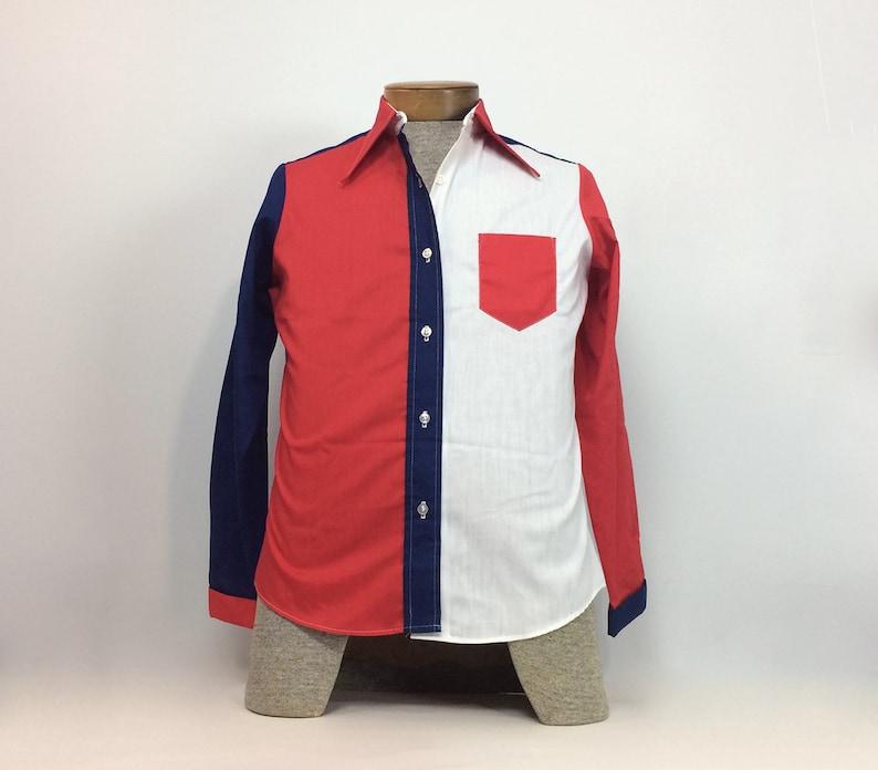 0380261ede75e Button Up Shirt Mens Vintage Clothing Red White Blue Shirt Top 34 Boys Shirt