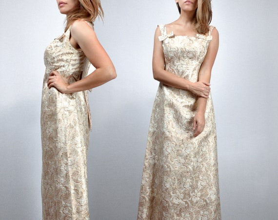 Vintage 1960s Gold Cocktail Dress, 60s Metallic Ma