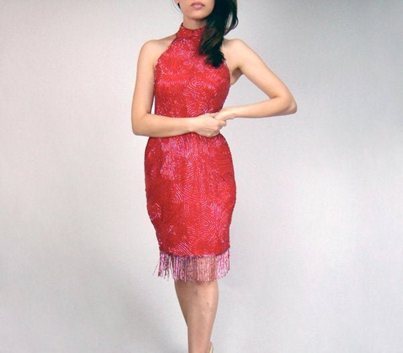 Red Beaded Party Dress Vintage 80s Bodycon Tassel Cocktail Dress Extra Small XS