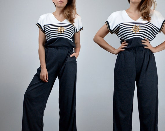 Nautical Jumpsuit, Womens Sailor Striped Metallic