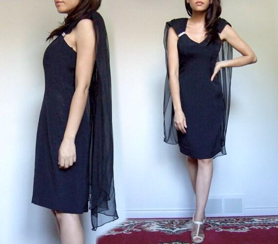 80s Cape Dress, Vintage Cocktail Evening Dress 198