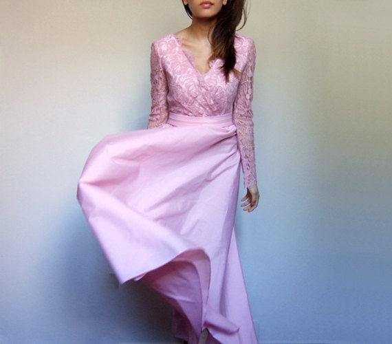 70s Lace Party Dress, Vintage Long Sleeve Pastel Pink Cocktail Dress Medium M