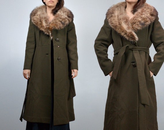 70s Olive Green Winter Coat, Women Wool Coat with