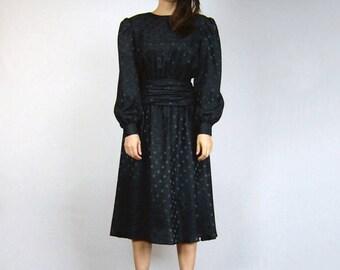 Black Polka Dot Dress Long Sleeve Goth Halloween Dress Puff Sleeve 80s Dress - Small S