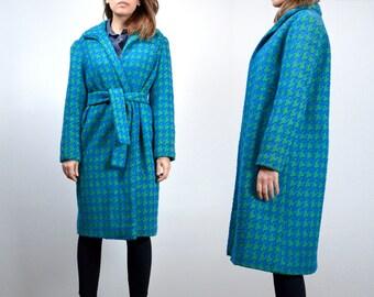 80s Bright Green Blue Winter Coat, Women Bright Woven Houndstooth Coat - Medium M