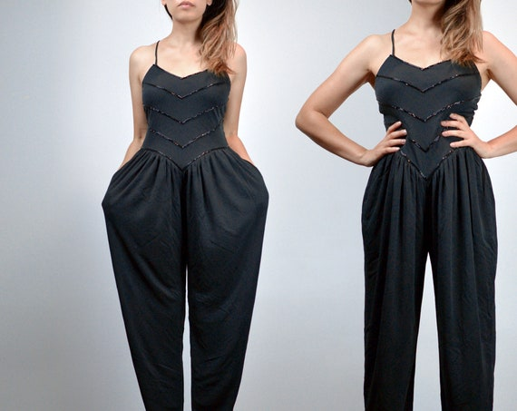 Vintage Jumpsuit, Womens Black Beaded One Piece, H