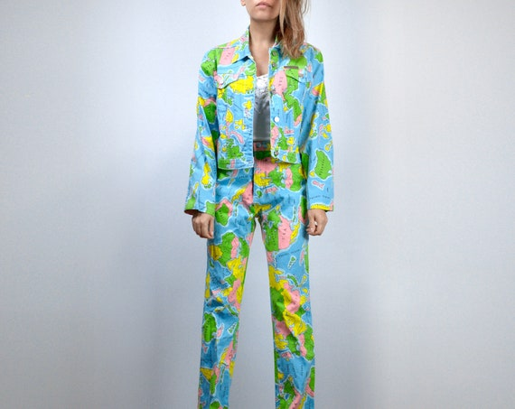 90s 2 Piece Outfit Vintage Novelty Print World Map