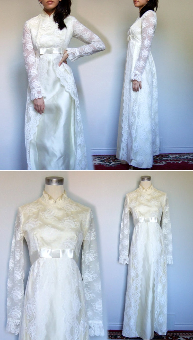 20s Wedding Dress Empire Waist 1920s Ivory Scalloped Lace Long ...