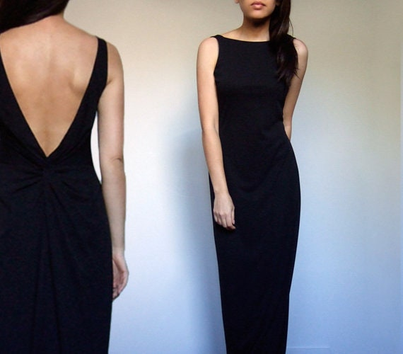 90s Deep V Dress, Black Knot Back Slinky Sleeveles