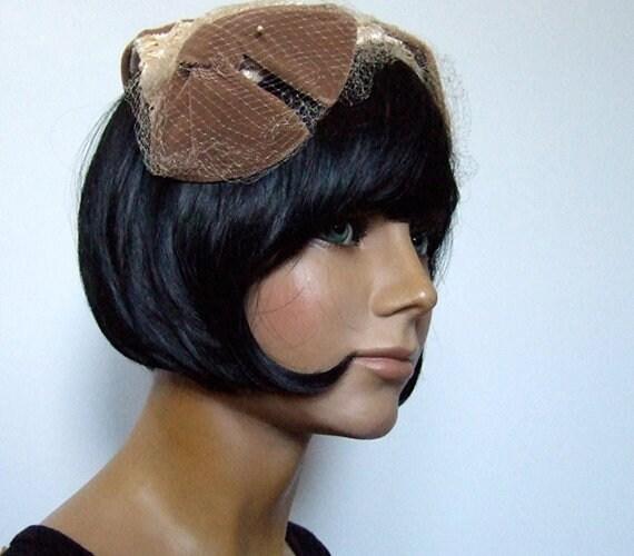 Vintage Straw Hat, 1960s Half Hat, Woman's Mid Cen