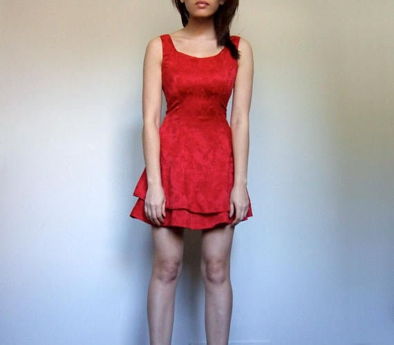 Red Mini Dress, Vintage 80s Party Dress, Womens Ru