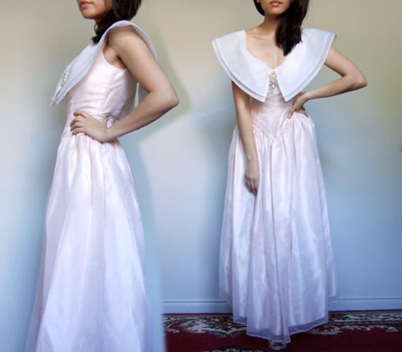 Extra Small XXS XS 80s Princess Party Dress Pale Pink Peter Pan Collar Costume