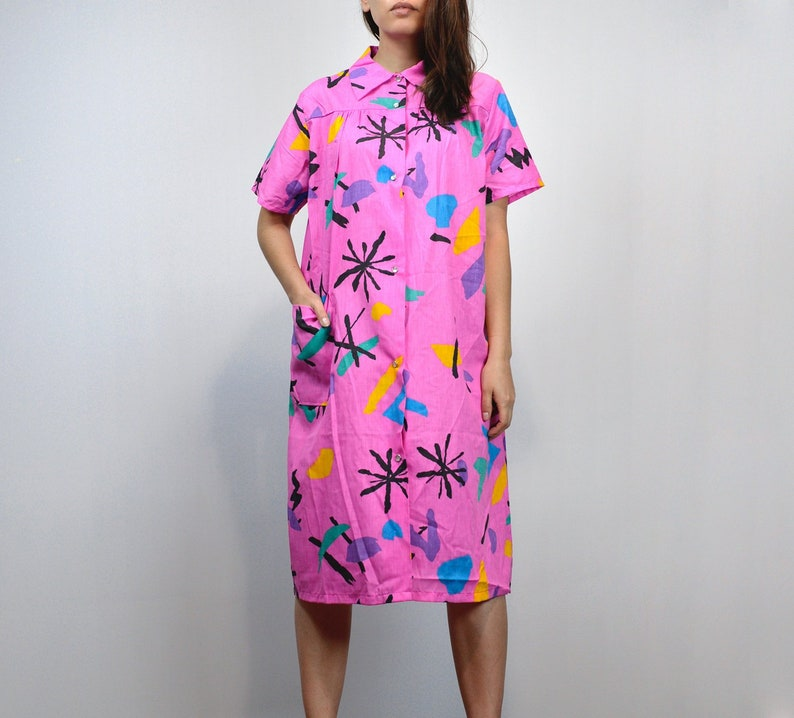 b0f54466143 Pink House Dress Vintage 80s Button Up Dress Colorful Muumuu