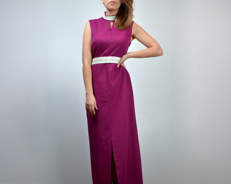 M 1970s Fuchsia Maxi Dress