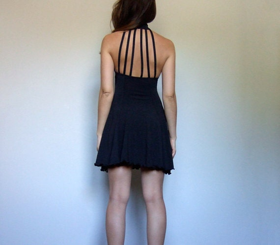 90s Strappy Dress, Black Mini Dress Vintage - Extr