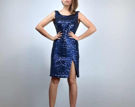 Blue Sequin Dress, 80s Deep V Back Party Dress - E