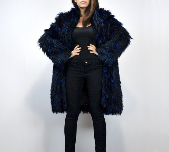 Faux Fur Coat Avant Garde Winter Jacket Black Blue