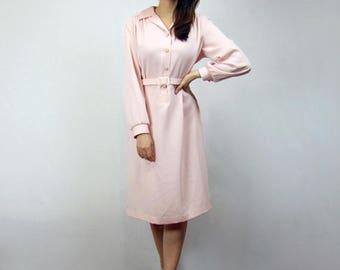 Pale Pink Dress Long Sleeve Collared Shirt Dress Pockets Womens Shirtdress Simple Minimalist Office Dress - Extra Large XL