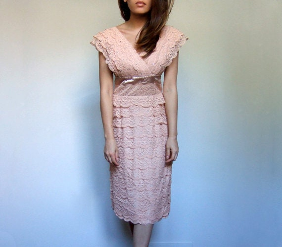 Vintage Tie Neck Shift 60s Pink Dress 1960s Lace Party Dress Small to Medium S M