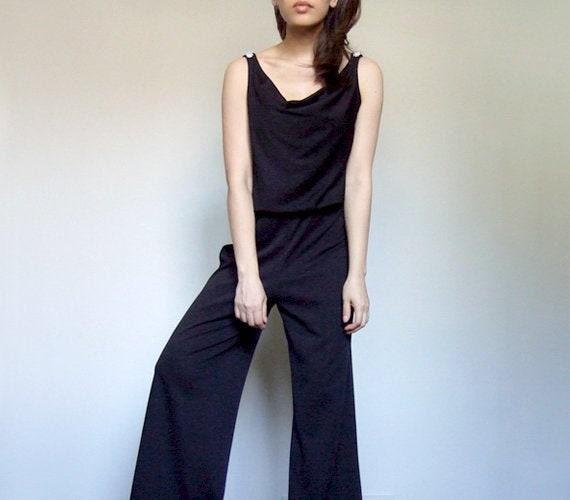70s Jumpsuit, Womens Vintage Black Pantsuit, One P
