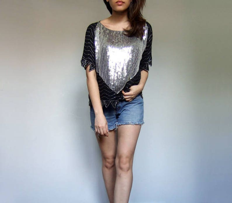 Small to Large S M L 80s Sequin Top Womens Vintage Clothing Oversized Top Beaded Tshirt Tee Sequin Shirt