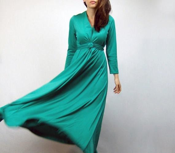 Long Sleeve Maxi Dress, 70s Grecian Goddess Gown, Green Floor Length Dress Medium to Large M L