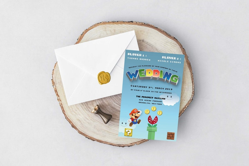 PRINTABLE Mario Wedding Invitation Template