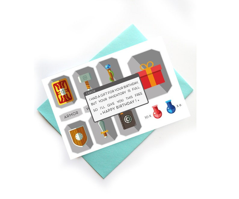 Geek Birthday Card Video Games Inventory Funny Card I Had A Etsy
