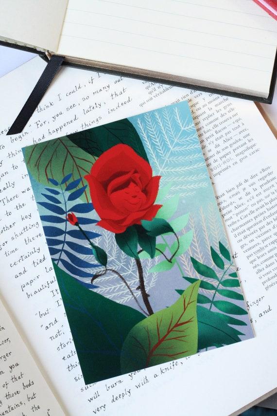 Alice In Wonderland Card Illustration Flower In The Garden Red Rose Singing Golden Afternoon Singing Flowers