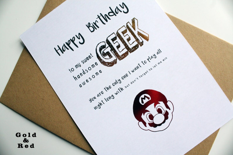 Carte D Anniversaire Geek Jeu Video Mario Bros Yoshi Toad Etsy