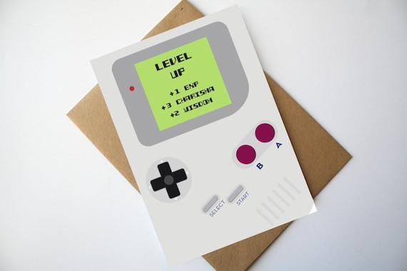 Gamer Birthday Card Nintendo Game Boy Inspired