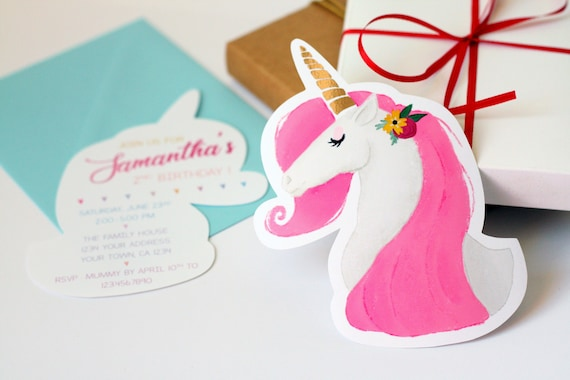 Unicorn Birthday Card Birthday Invitation Baby Shower Etsy